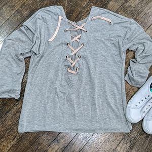 🔥Lace Up Open Sweatshirt Sweater